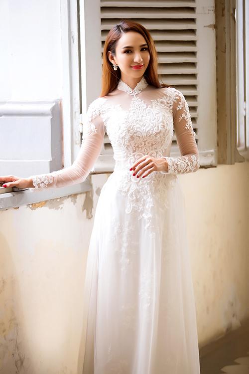 Áo dài ren trắng 3D